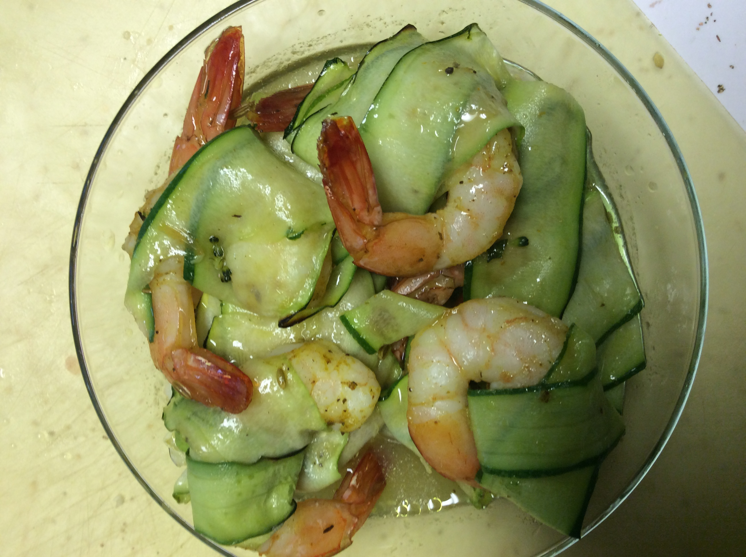 Sautéed shrimp & Shaved zucchini